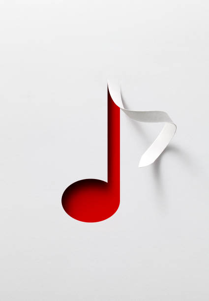 Music note. Paper cut of music note. stock photo