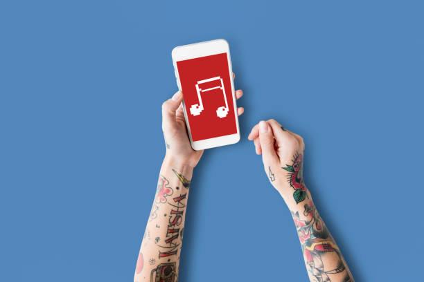 musik note rhythmus audio schlagen symbol - musiknoten tattoos stock-fotos und bilder