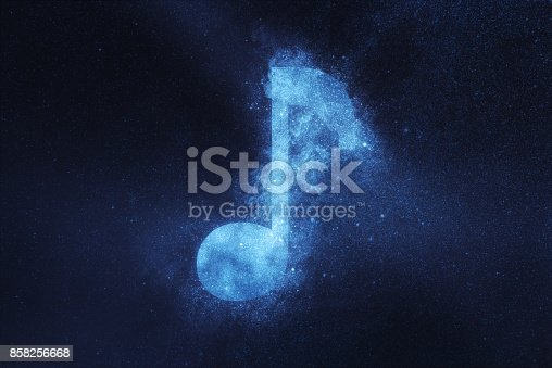 istock Music note sign, Music note symbol. Abstract night sky background 858256668