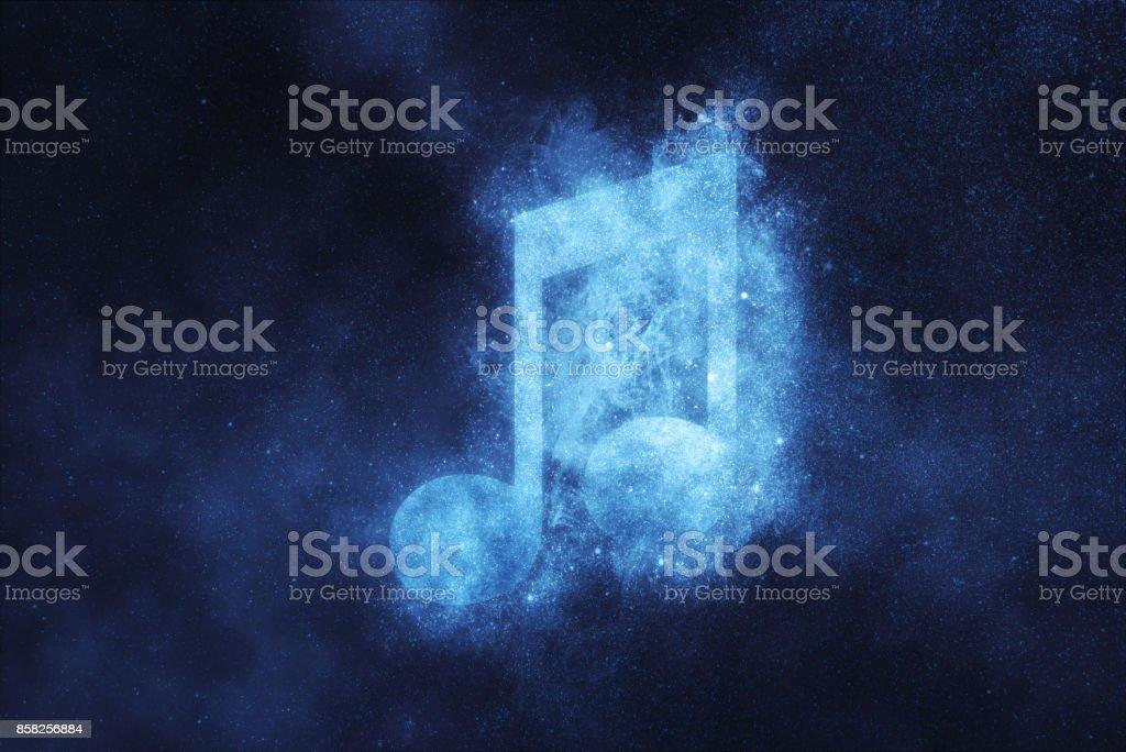 Musik Hinweis Schild, Musik-Hinweis-Symbol. Abstrakte Nacht Himmelshintergrund – Foto