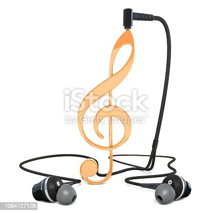 Music note with earphones, musical concept. 3d rendering isolated on white background