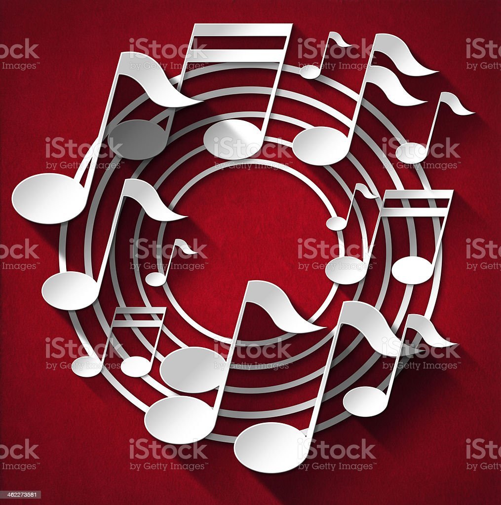 Music notes in a circular grade on red background stock photo
