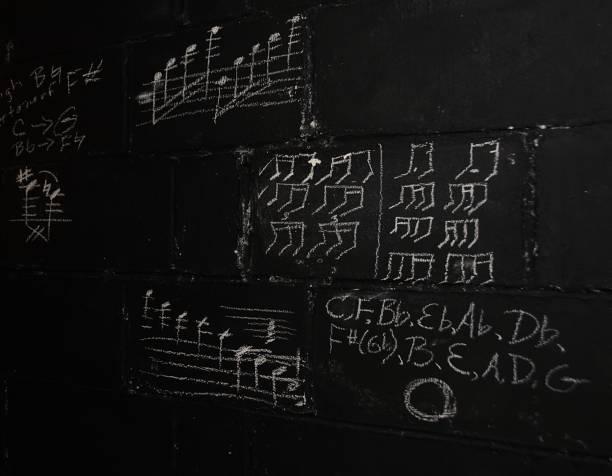 notas de música em giz - desenhos de notas musicais - fotografias e filmes do acervo
