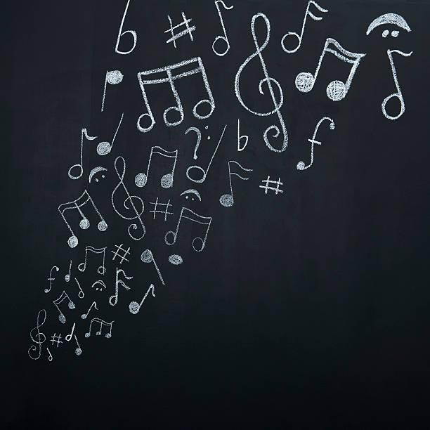 notas musicais no quadro-negro - desenhos de notas musicais - fotografias e filmes do acervo
