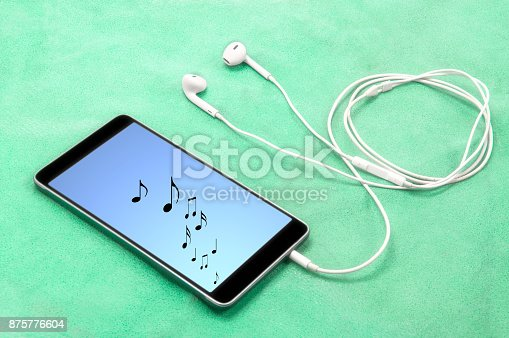 Music Notes On Smartphone Screen With Headphones