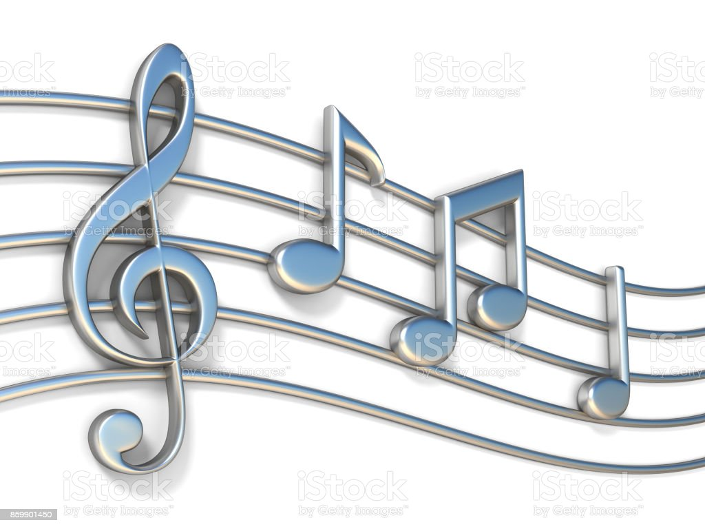 Music notes on staff lines 3D stock photo