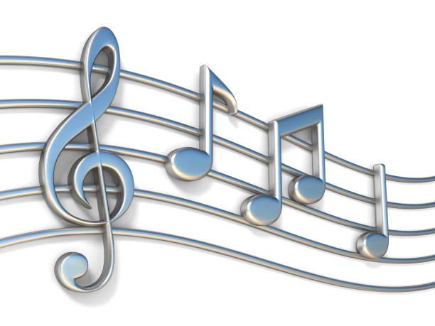les notes de musique sur le personnel des lignes 3d - note de musique photos et images de collection
