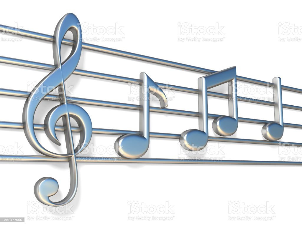 Music notes on staff lines 3D vector art illustration