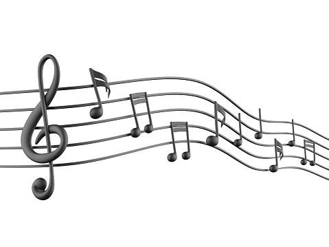 3D Music notes on white background