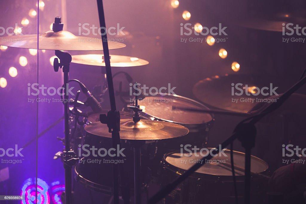 Music photo background, rock drum set stock photo
