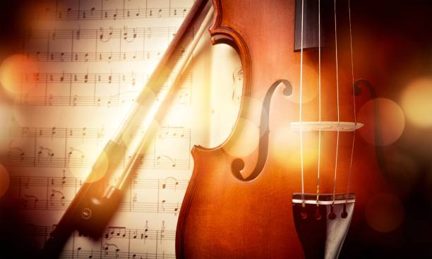 Music. Close-up Photo Of Violin And Musical Notes string instrument stock pictures, royalty-free photos & images