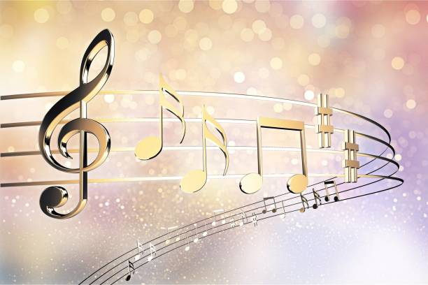 Music. Golden Notes on note background musical note stock pictures, royalty-free photos & images