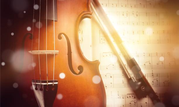 Music. Photo Of Violin And Musical Notes string instrument stock pictures, royalty-free photos & images