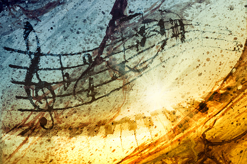 Music notes with piano and background Texture