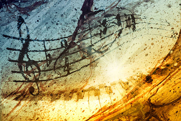 Music Music notes with piano and background Texture sheet music stock pictures, royalty-free photos & images