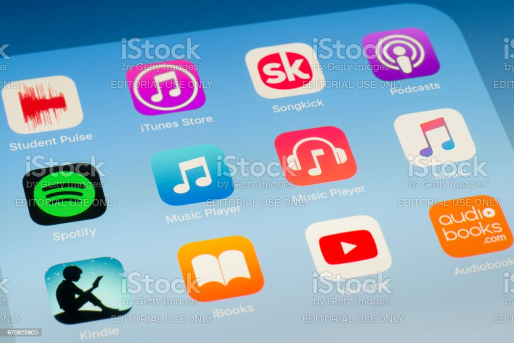 Music Player and other music streaming Apps on iPad screen stock photo