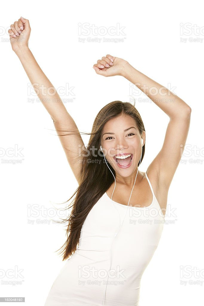 MP3 music player woman dancing royalty-free stock photo