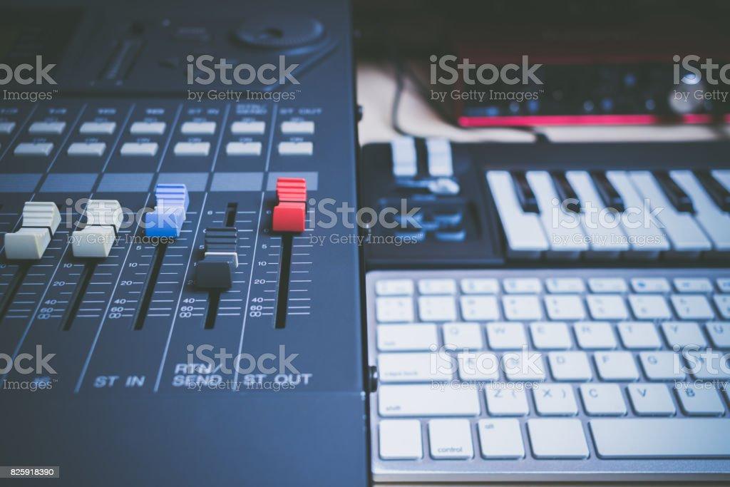 Music Production Concept Sound Mixer Midi Keys Audio Interface