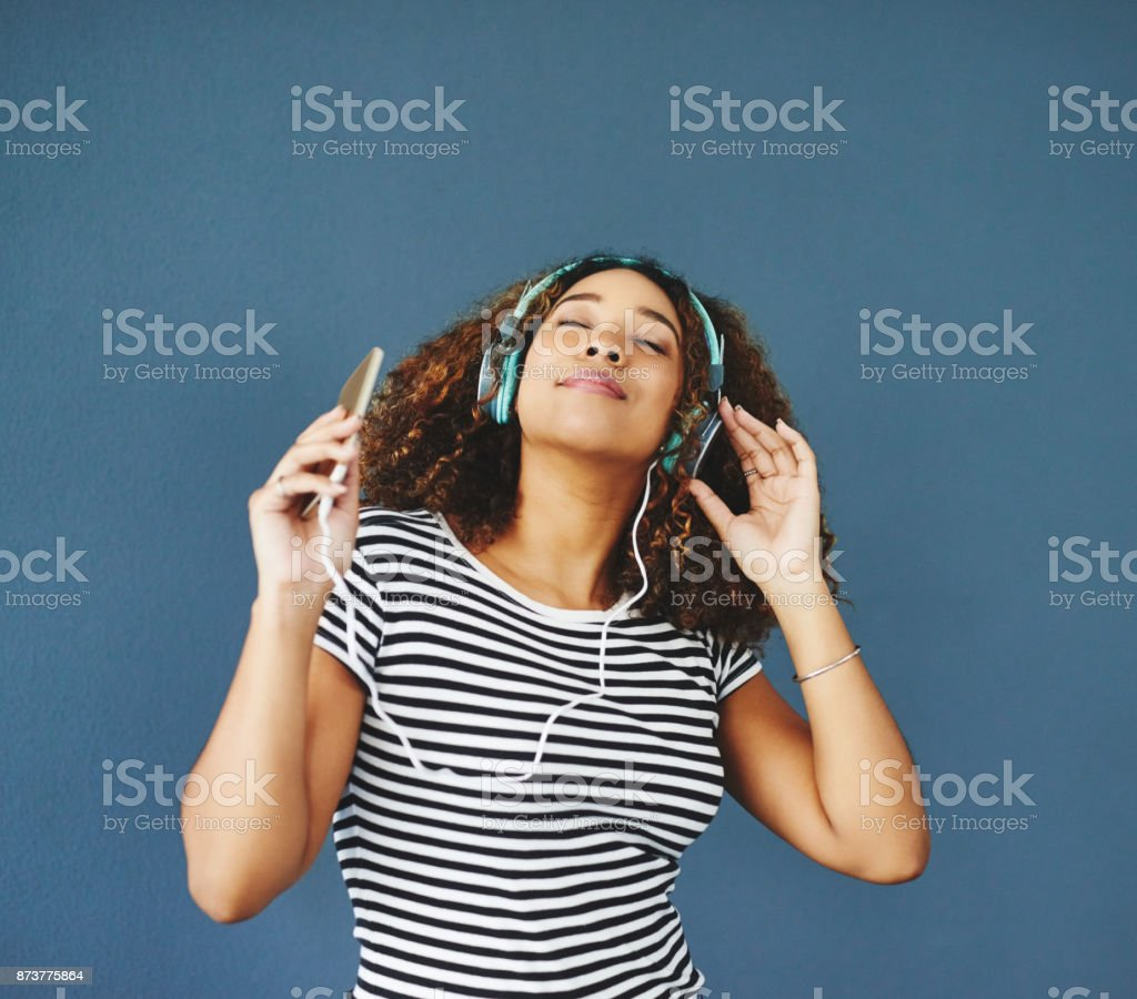 Music puts me in a good mood foto stock royalty-free