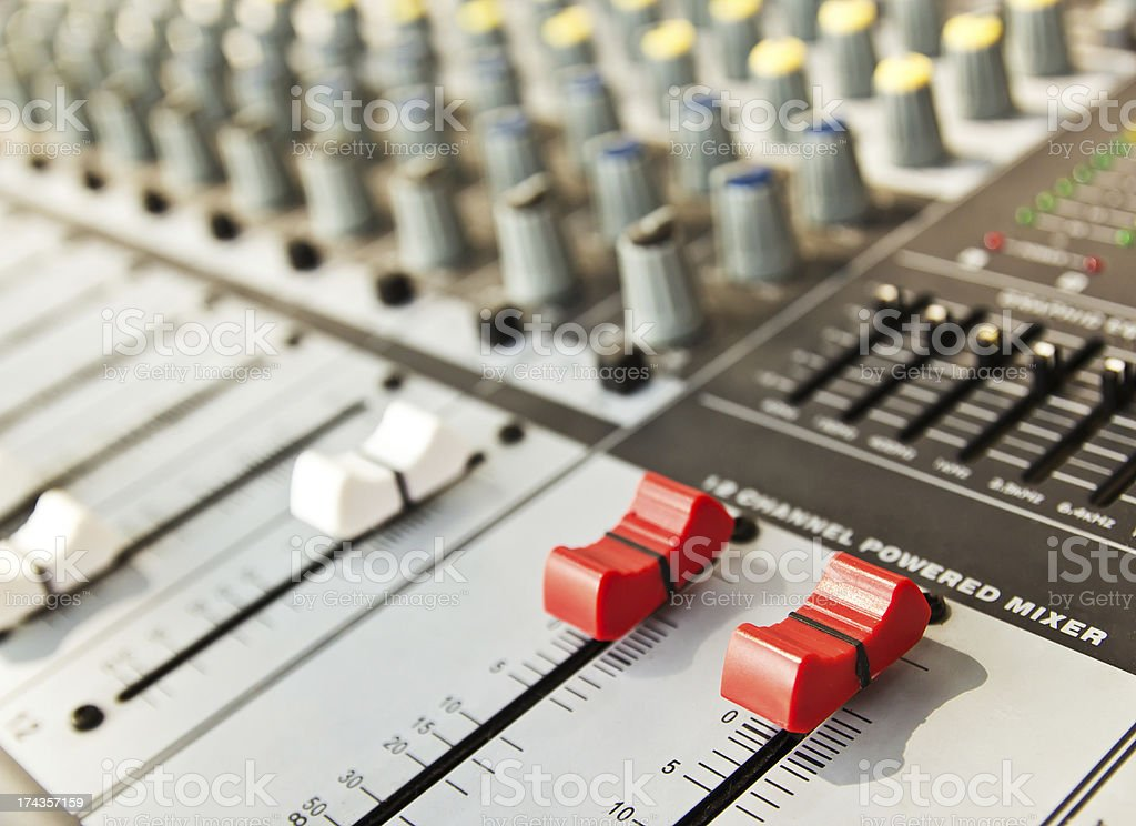 Music Recording Powered  Mixer royalty-free stock photo