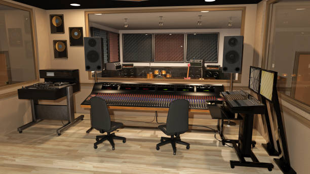 Music recording studio with sound mixer, instruments, speakers, and audio equipment, 3D render Music recording studio with sound mixer, instruments, speakers, and audio equipment, 3D rendering recording studio stock pictures, royalty-free photos & images