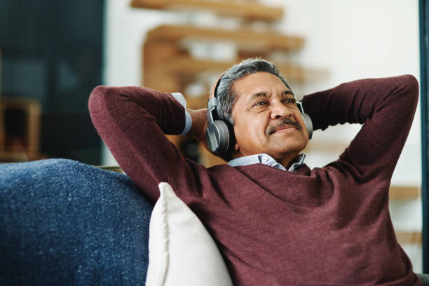 Music relaxes me stock photo