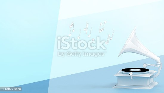 istock Music Retro vintage Gramophone Antique style and Drawing Concept on pastel blue background - Illustrations Art 1138773370