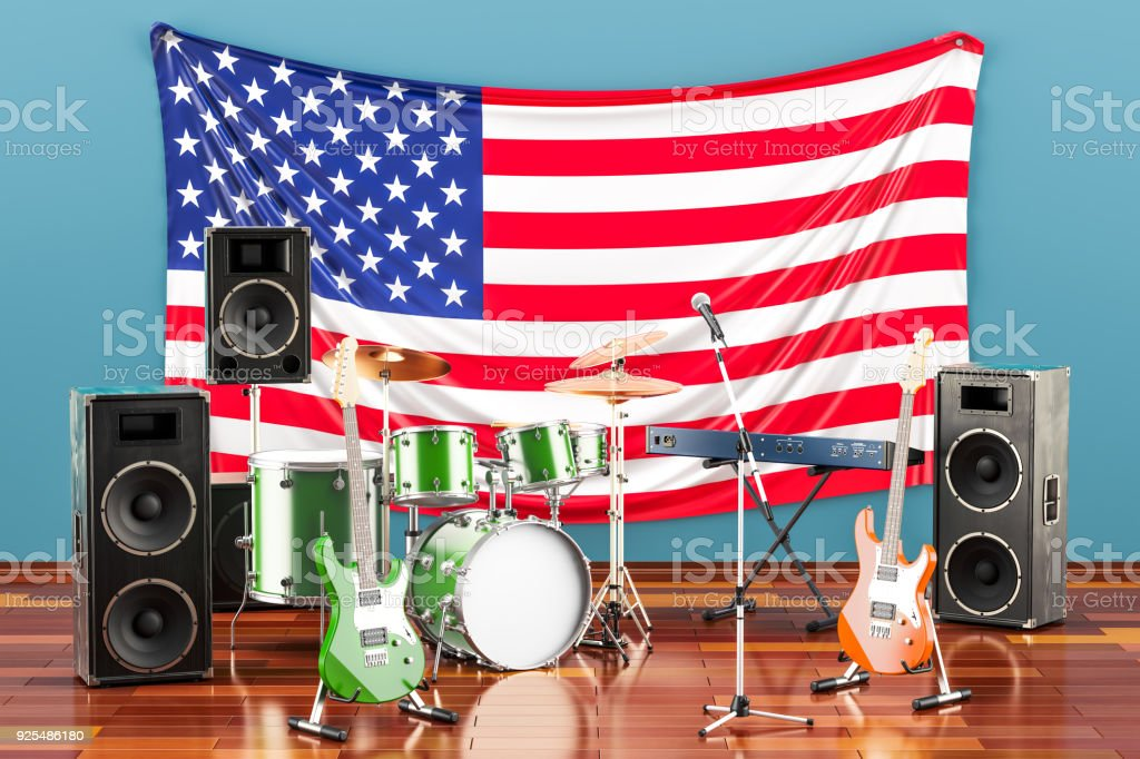 Music, rock bands from the United States concept, 3D rendering stock photo