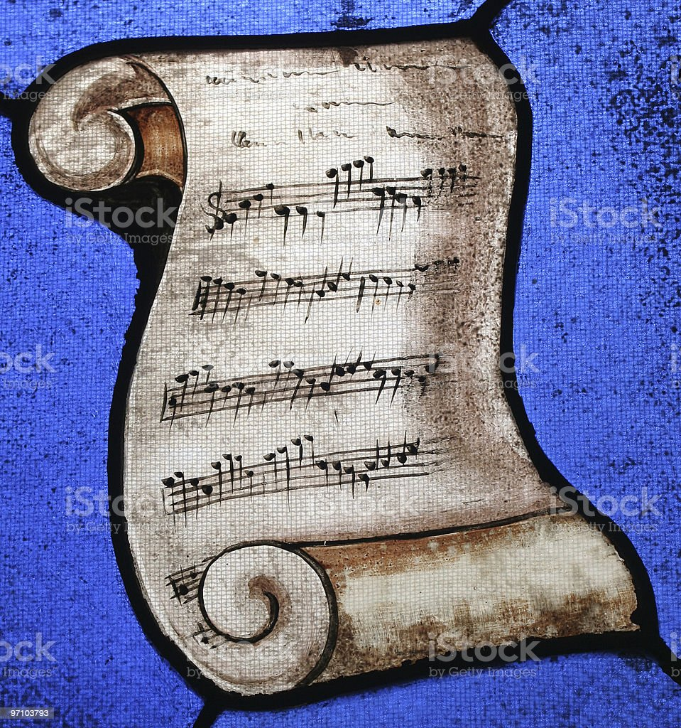 Music Scroll in Stained Glass royalty-free stock photo