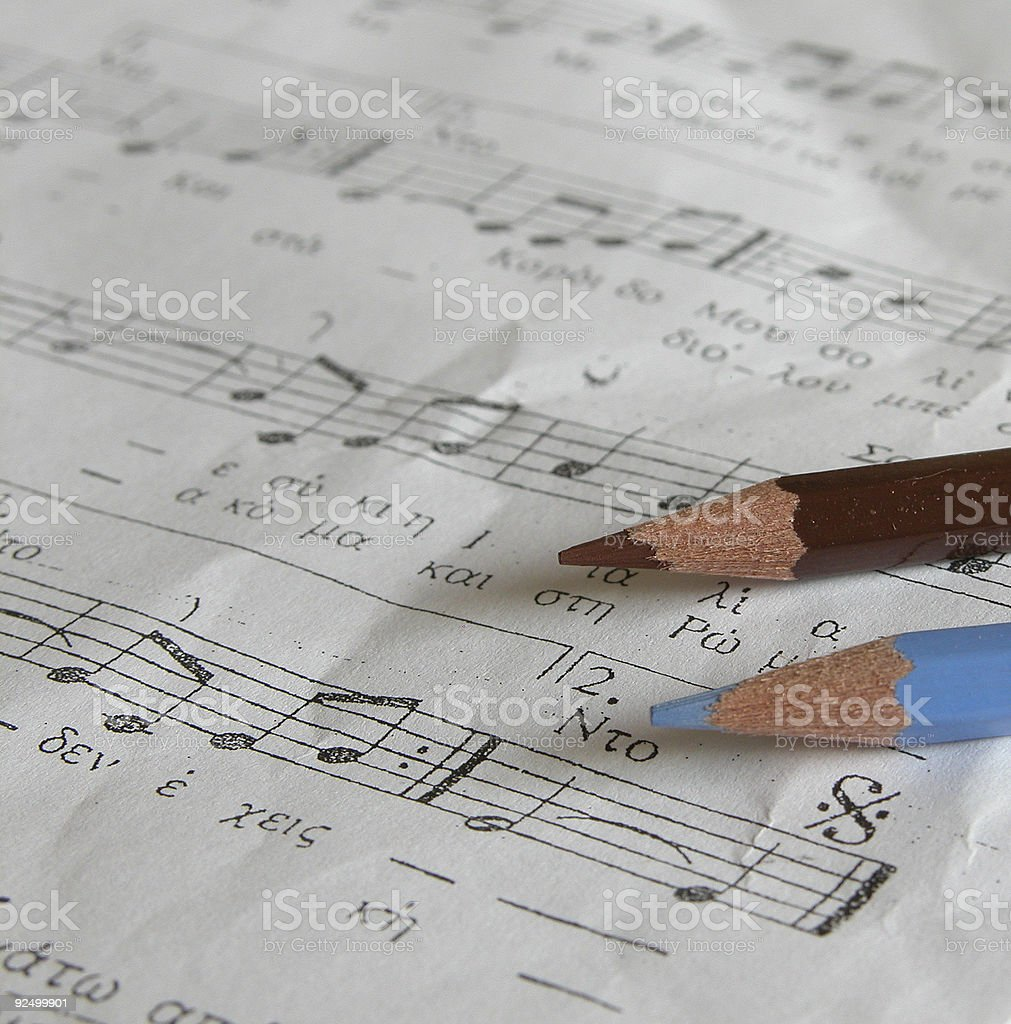 Music Sheet and Color Pencils royalty-free stock photo