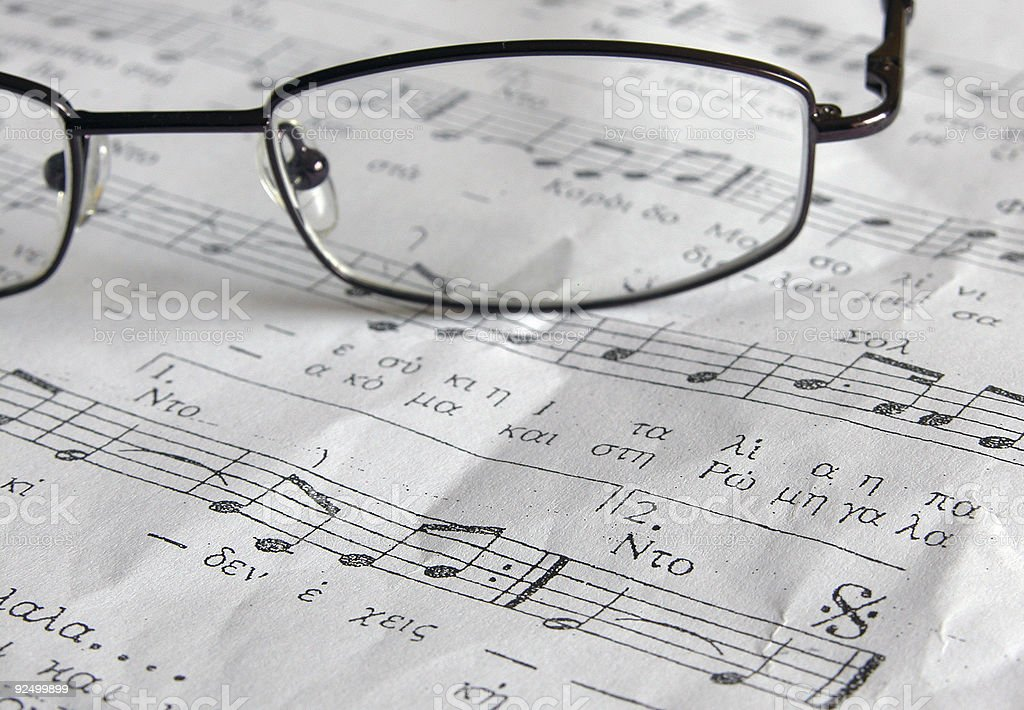 Music Sheet and eye glasses royalty-free stock photo