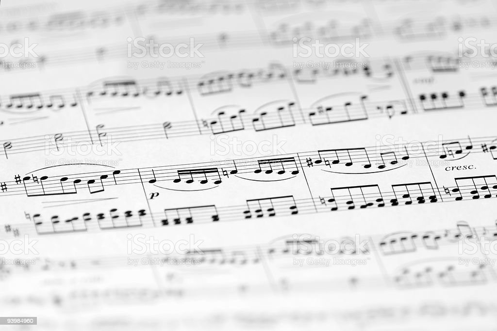 Music Sheet with Soft Focus, Black and White Image royalty-free stock photo