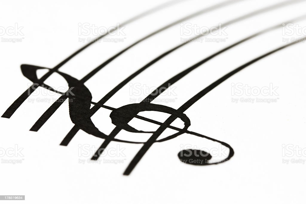 Music sheet with treble clef royalty-free stock photo