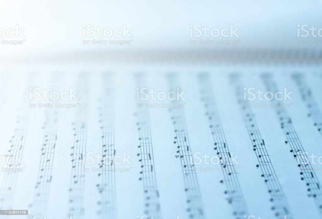Music sheets on white background. Sheets with musical notes.