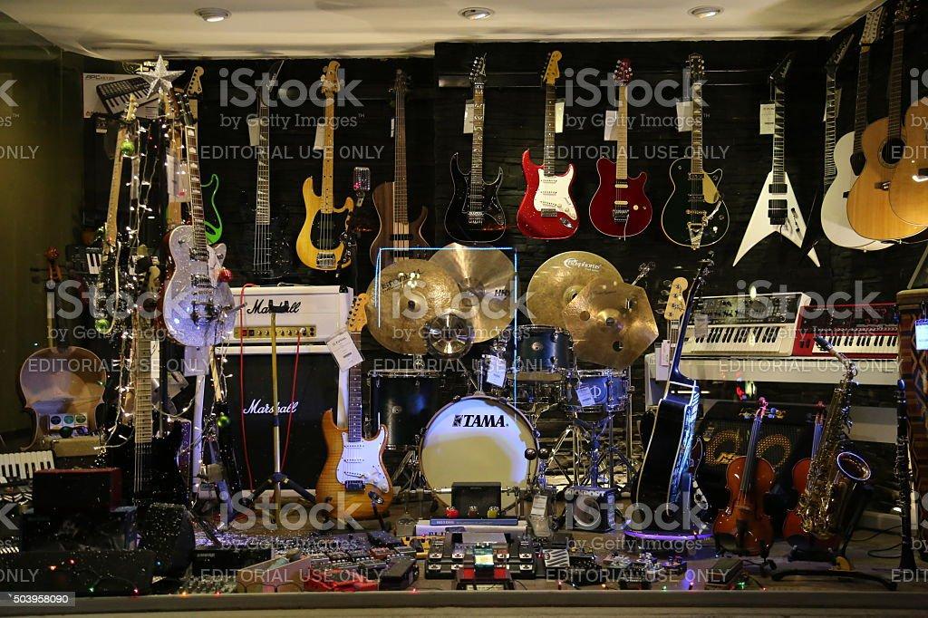 Music shop stock photo