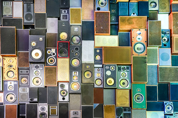 Music speakers on the wall in retro vintage style stock photo