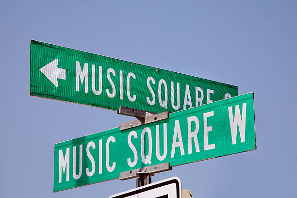 Music Square street sign in Nashville, Tennessee stock photo