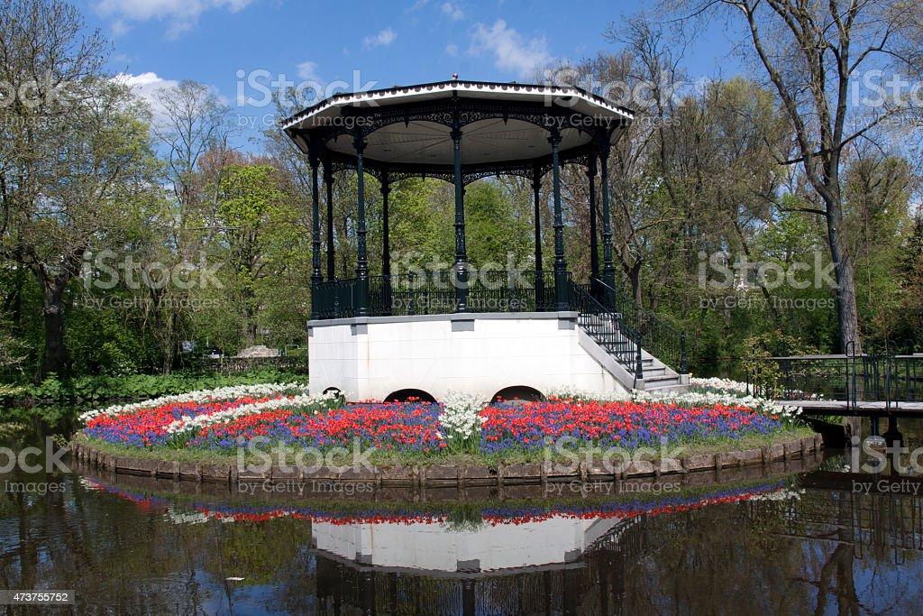 Music stage in the Vondelpark in Amsterdam stock photo
