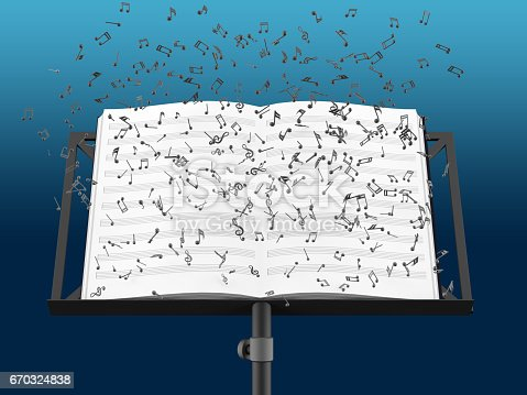Music stand with melody sheets with clipping path