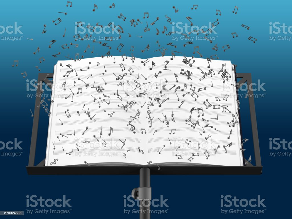 Music stand with melody sheets with clipping path stock photo