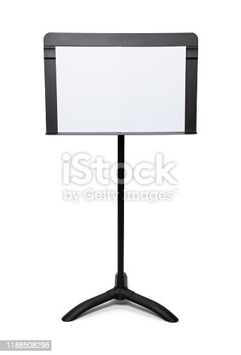 Music Stand with Blank Paper Isolated on White Back Ground.
