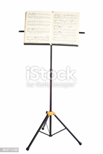 Music stand with piano notes isolated on white