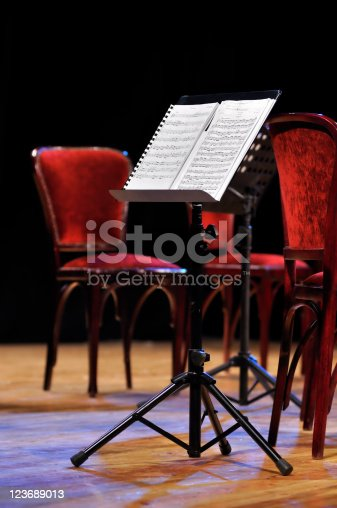 Music stand with sheet. No studio shout. Focused to sheet. Shallow DOF.