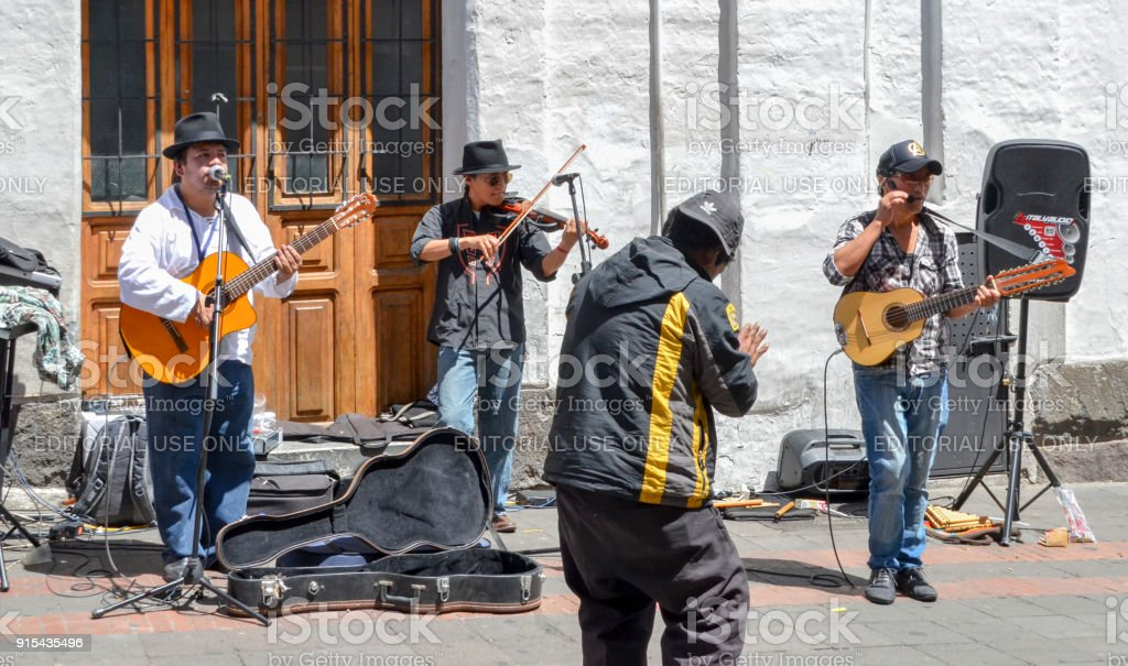 Music street performers in the historic centre of Quito, Ecuador