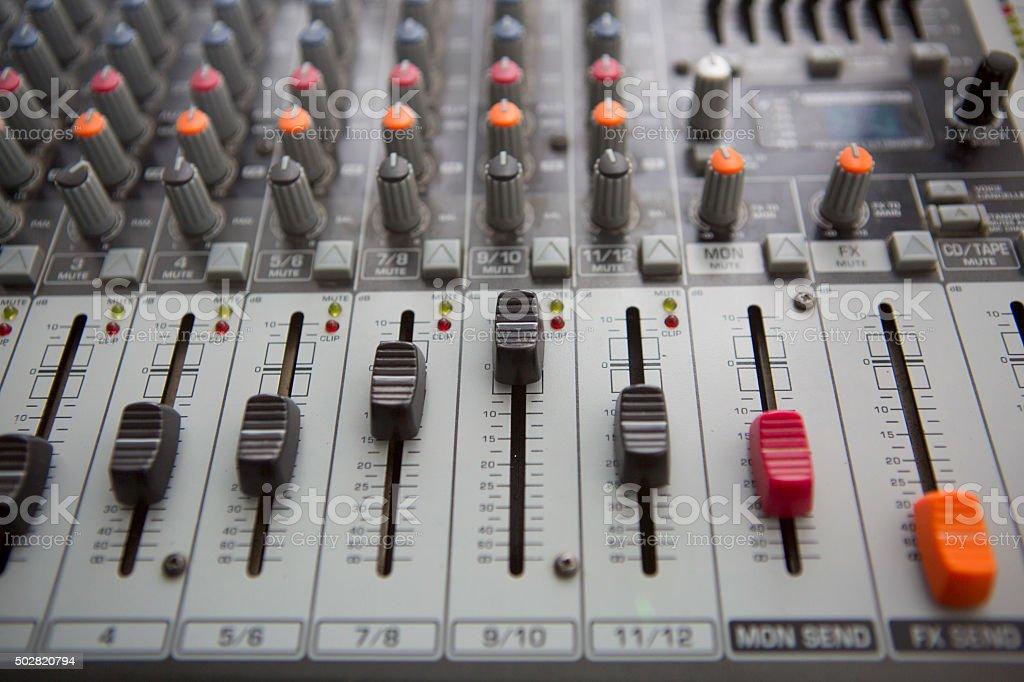 Music Studio Mixer Control stock photo