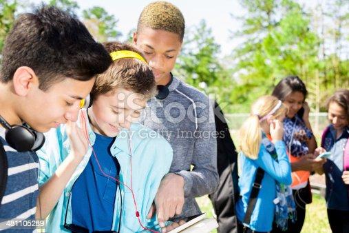 istock Music: Teenage friends listen to music on smart phone.  Park. 481105289