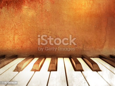 istock Music theme background with piano keys in retro style 1167944639