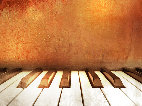 Music theme background with piano keys in retro style