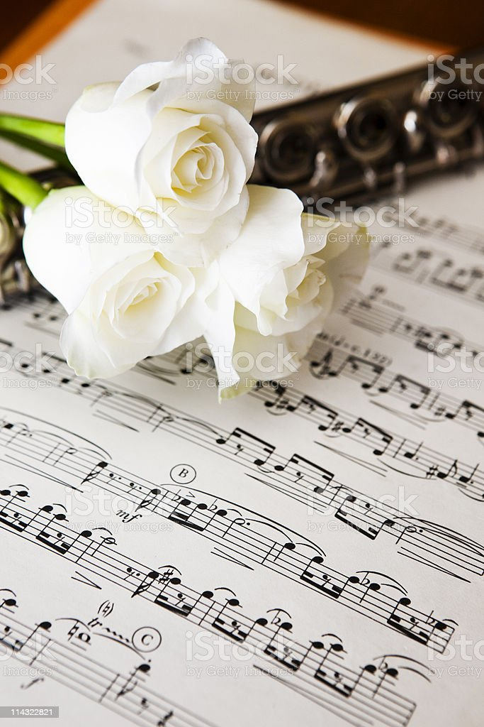 Music with flute and roses royalty-free stock photo