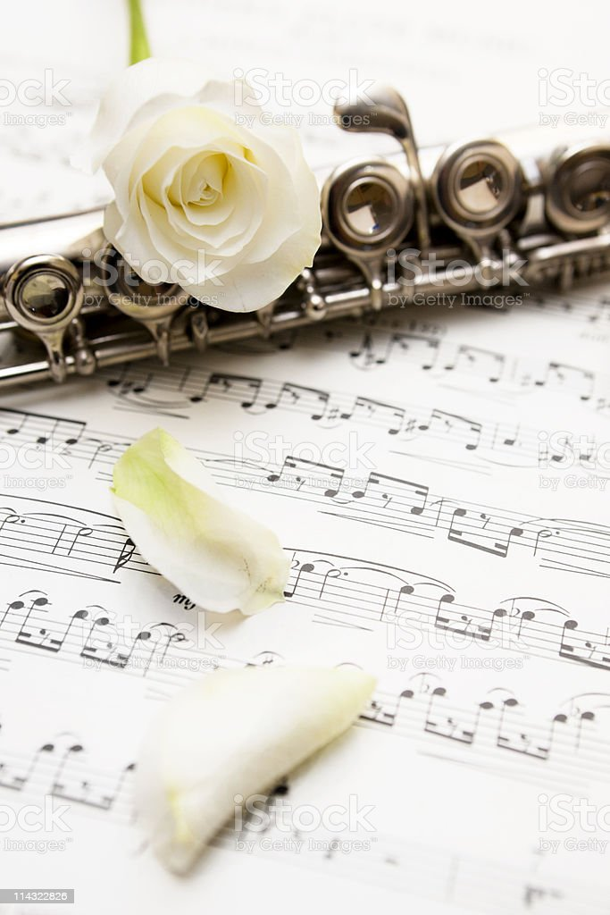Music with flute, roses and petals royalty-free stock photo